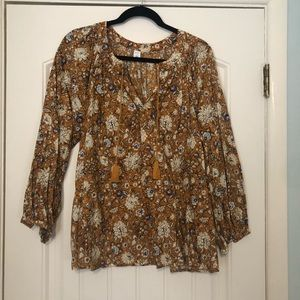 Old Navy mustard floral peasant blouse